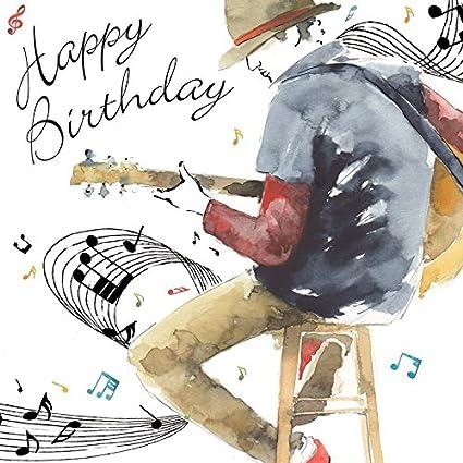 Twizler Tarjeta de felicitación de cumpleaños para él con decoración color plata, efecto de acuarela
