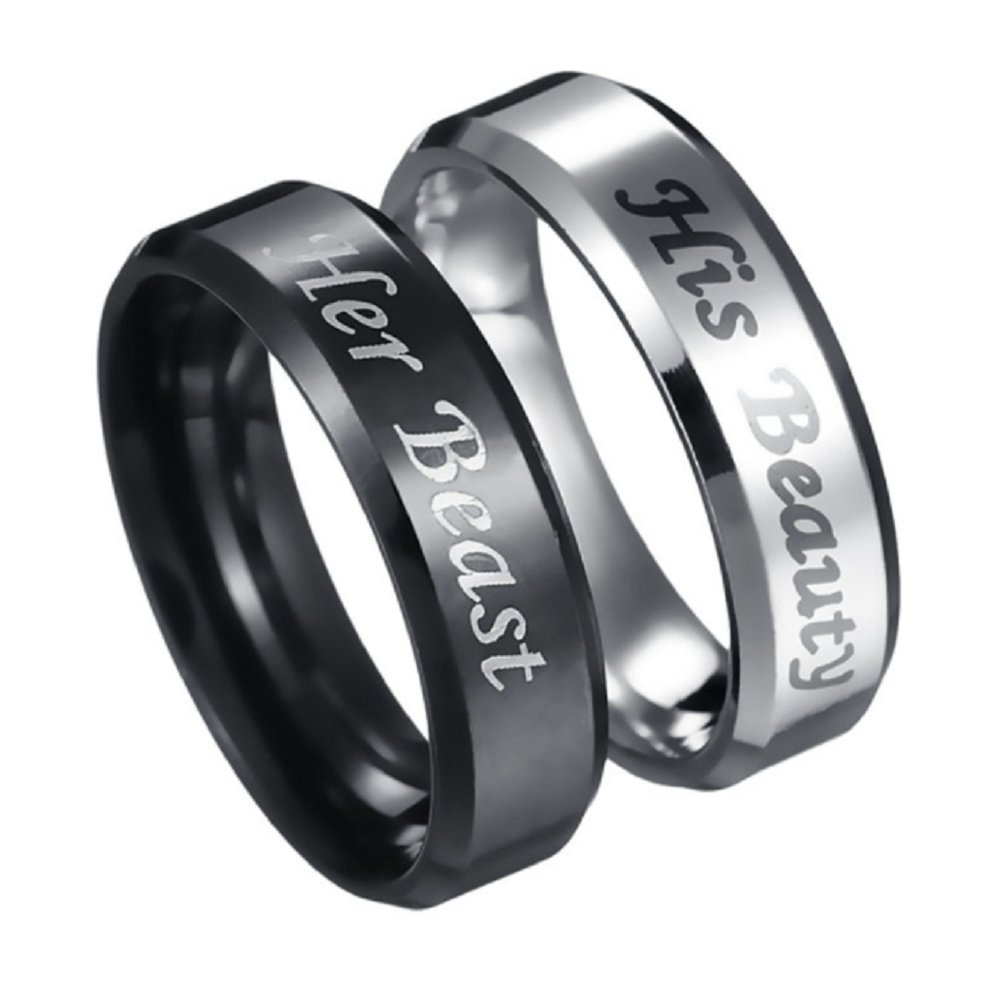 His Beauty Her Beast Engraved Ring Stainless Steel Couple Lovers Anniversary Engagement Wedding Band Promise Rings Blowin BW12P80037