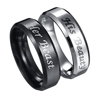 736ff83799eab Amazon.com: His Beauty Her Beast Engraved Ring Stainless Steel ...