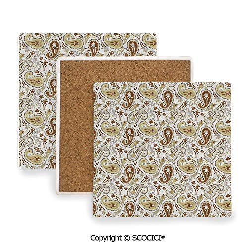 33402 Wall - Ceramic Coasters with Cork Base, Prevent Furniture from Dirty and Scratched, Suitable for Kinds of Mugs and Cups,Paisley,Floral Patterns with Paisley and Tulips Persian,3.9