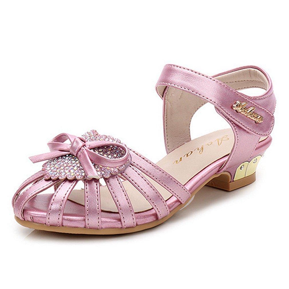 Little Girl's Adorable Sparkle Sandals Bow Strap Low Heels Princess Dress Shoes