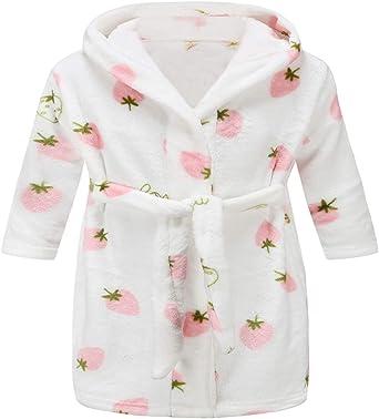 2 Toddler-12 Years Toddler Kids Hooded Robes Plush Soft Coral Fleece Pajamas Sleepwear for Boys Girls Boys Girls Bathrobes