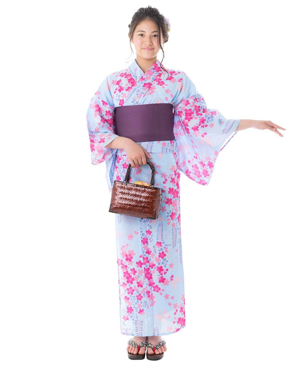 KYOETSU Women's Elegant Yukata Kimono 3 Piece-Set fy27 (Yukata/Obi/Getas) (FG-51(Obi:Deep Purple/White)) by KYOETSU (Image #1)