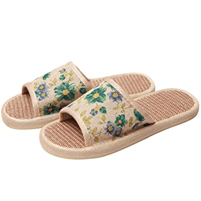 Hello Shero Unisex Cozy Flax Linen Moisture-Wicking House Shoes Lightweight Non-Slip Sole Home Slippers Floral Sandals Open Toe Slides | Sandals