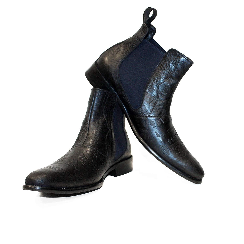 Modello Turtello - Handmade Italiano da Uomo Uomo Uomo in Pelle colore Nero Stivali di Chelsea - Vacchetta Pelle in Rilievo - Scivolare su 4e6692