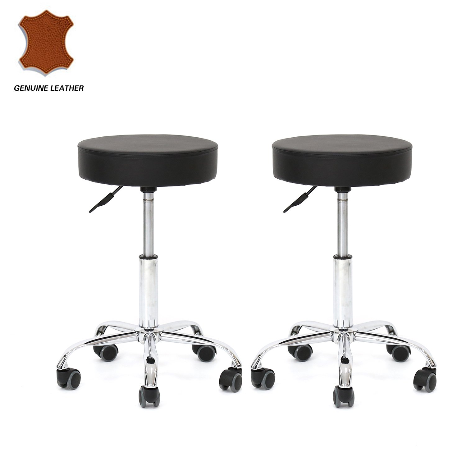 Kinbor Set of 2 Genuine Leather Adjustable Hydraulic Rolling Swivel Bar Stool Tattoo Facial Massage Spa Stool Chairs (Black)