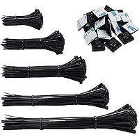 Kabelbinders, 500 Pack Heavy Duty zelfsluitende zwarte nylon ritsbanden, met 50PCS zelfklevende steunen basishouders…