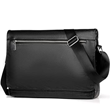 Amazon.com  Men Bag Black Vintage Leather Messenger Bag Laptop Shoulder Bag  Satchel with Laptop Compartment for Men Women School Work (Black-2)   Doreamale 055475737d125