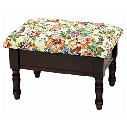 vintage foot stool antique look wooden dark box with storage padded rest ottoman rectangle unique furniture