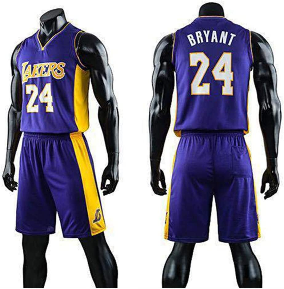 King-mely Kinder Junge Herren NBA Los Angeles Lakers Kobe Bryant # 24 Basketball Shorts M/ädchen Sommer Trikots Basketball Uniform Top /& Short
