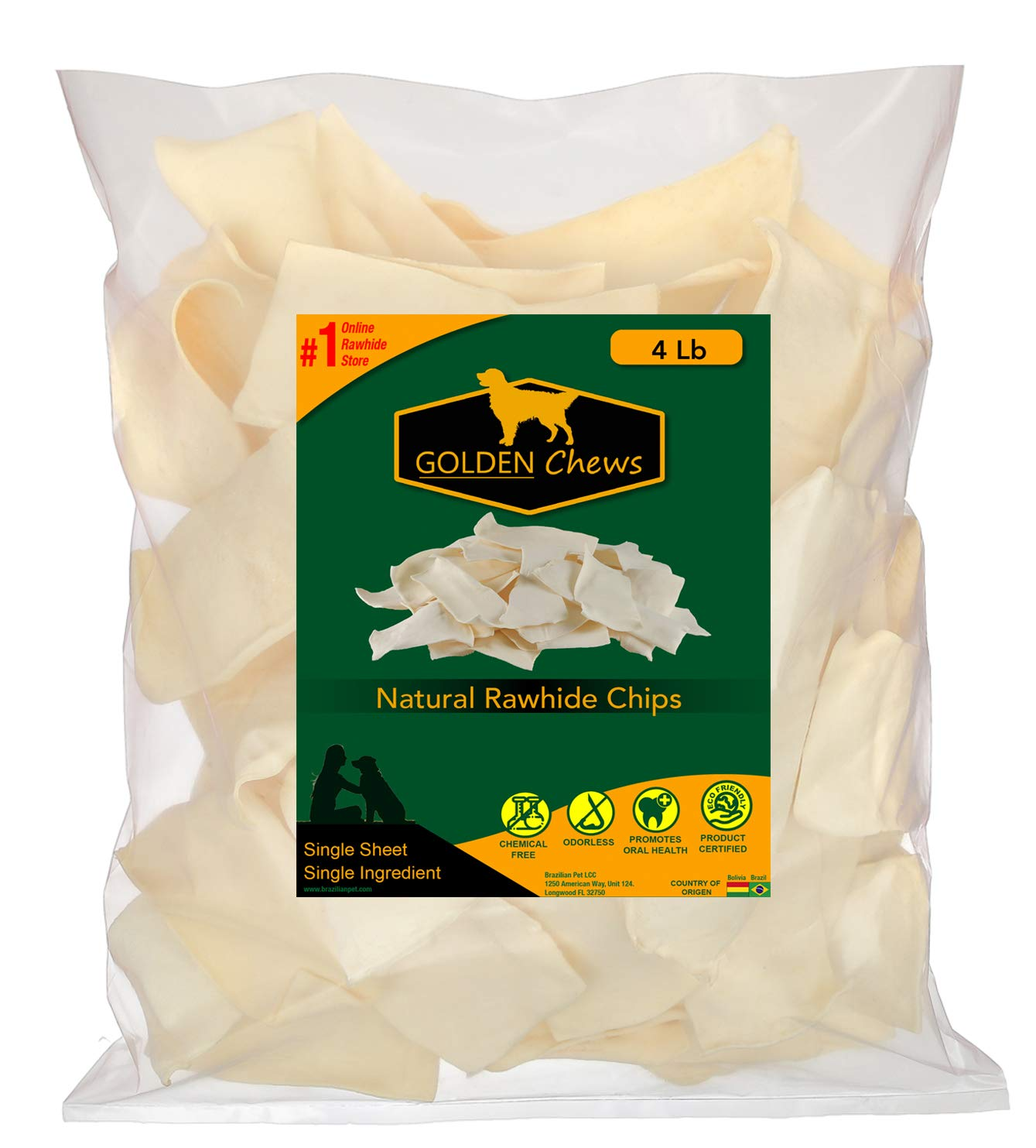 Golden Chews Natural Rawhide Chips - Premium Long-Lasting Dog Treats with Thick Cut Beef Hides (4 Pounds) by Golden Chews