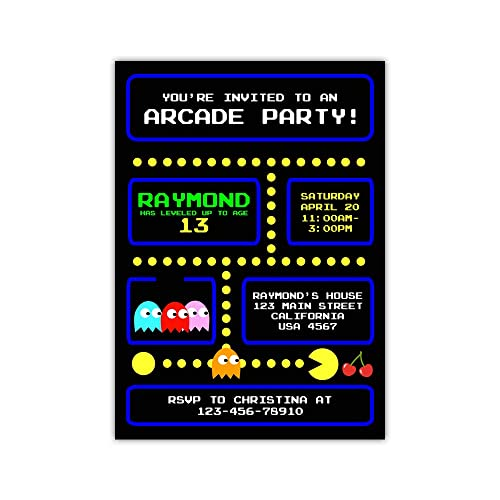 Amazon Com Custom Arcade Video Game Birthday Party Invitations For