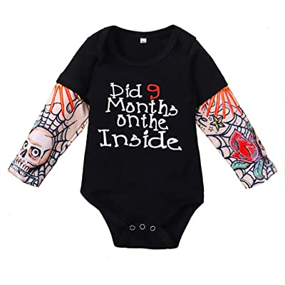 .com - Gallity Infant Baby Boy Fake Tattoo Sleeve Romper 0-24 Months Newborn Cotton Tattoo Printed Long Sleeve One-Piece Bodysuits Outfits Clothes (12-18 Months) -