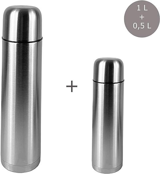 Termo de acero inoxidable de 1 litro con doble pared y jarra de 0,5 L: Amazon.es: Hogar