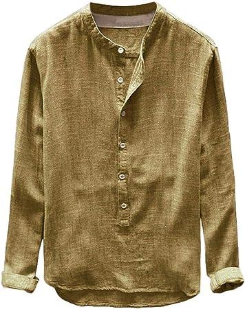 GreatFun Camisa Moda Hombre Otoño Invierno Botón Casual Lino Algodón Blusa de Manga Larga Blusa de Solapa Camisas Blusas Camisa con Botones de Botonadura Sencilla Color sólido Camisa Delgada de Man: Amazon.es: