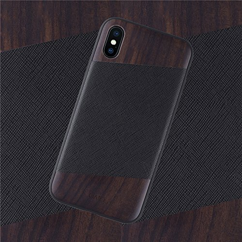 iPhone X Wood Leather Case: iATO Genuine LEATHER & Real WOODEN Premium Protective Accessory. Unique & Classy SAFFIANO leather & BOIS de ROSE Wood Cover for iPhone X / 10 [Supports Wireless Charging]
