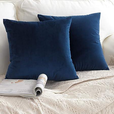 Cuscini Per Divano Blu.Ccroom Federe In Velluto 45x45cm Confezione Da 2 Copricuscini