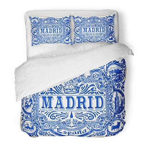 SanChic Duvet Cover Set Spanish Ornate Work Madrid Symbol Ceramic Tilework Azulejos Spain Closeup Tin Glazed Vintage Indigo Blue Decorative Bedding Set with 2 Pillow Shams Full/Queen Size by SanChic
