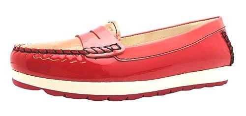 Geox D Senda S - Mocasines para mujer rojo rojo, color rojo, talla 41: Amazon.es: Zapatos y complementos