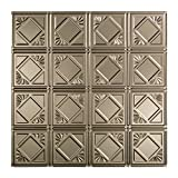 Fasade Easy Installation Traditional 4 Brushed Nickel Lay In Ceiling Tile / Ceiling Panel (2' x 2' Tile)