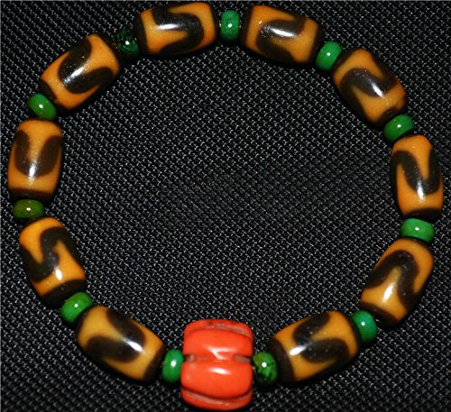 Tibetan Buddhist Dzi Bead Bracelet Water Wave Stripe Tiger Tooth Motif Pure Agate Yellow Color Amulet Tibet Antique Rosary Ancient Zig Zag Carnelian Mala Prayer Beads Worry Old Necklace Pendant Genuine Tianzhu Authentic Real Huya N665