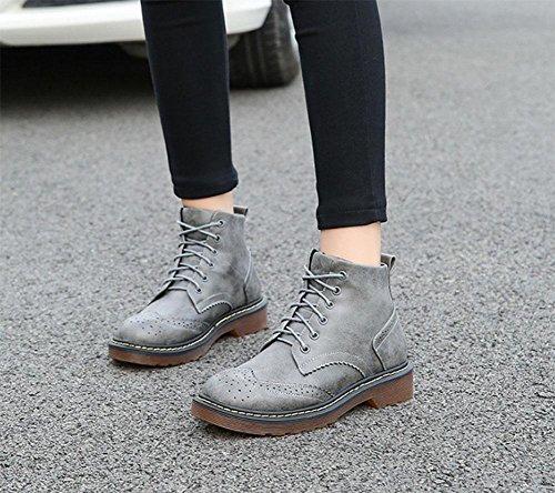 Moda de Salvaje Casual grey de cashmere Estudiante Botas Plataforma MEILI Zapatos Botas Extra Algodón mujer mujer Martin Encajes Botines Tamaño Plus de RURHIq