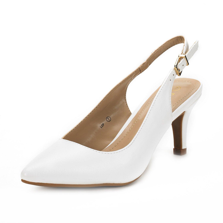 DREAM PAIRS Women's LOP White Pu Low Heel Pump Shoes - 8.5 M US