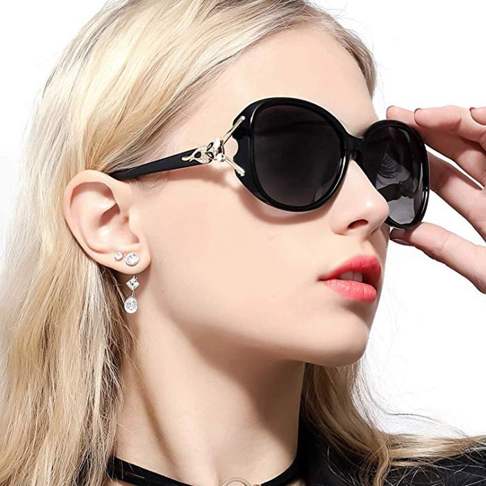Classic Polarized Oversized Sunglasses for Women HD Lens UV Protection shades Fashion Retro Goggle Designer Eyewear (Black Frame/Shades Grey Lens Oversized Polarized Sunglasses) by GOBIGER