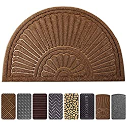 "Mibao Durable Rubber Doormat, 24""x 36"" Large Half Round Low-Profile Waterproof, Non Slip, Easy Clean, Washable Indoor/Outdoor Mats for Entrance"