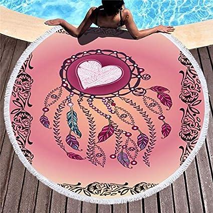 Amazon.com: WLEZY Beach Towel Feather Beach Towel Round ...