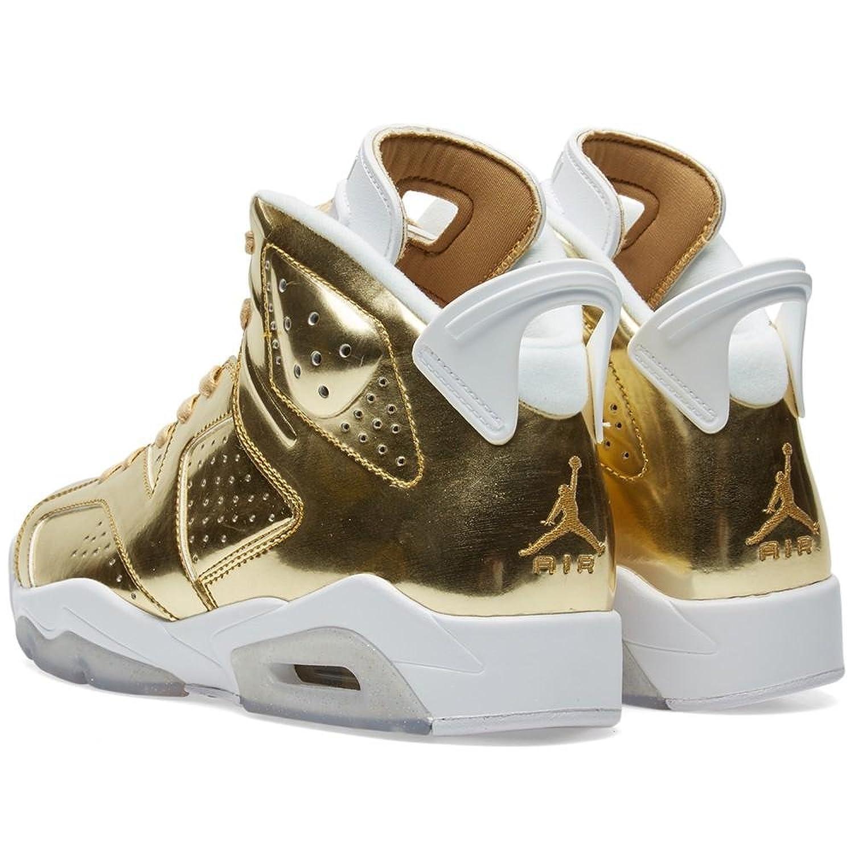 Amazon.com   NIKE Mens Air Jordan 6 Retro Pinnacle Metallic Gold/White  Leather   Basketball
