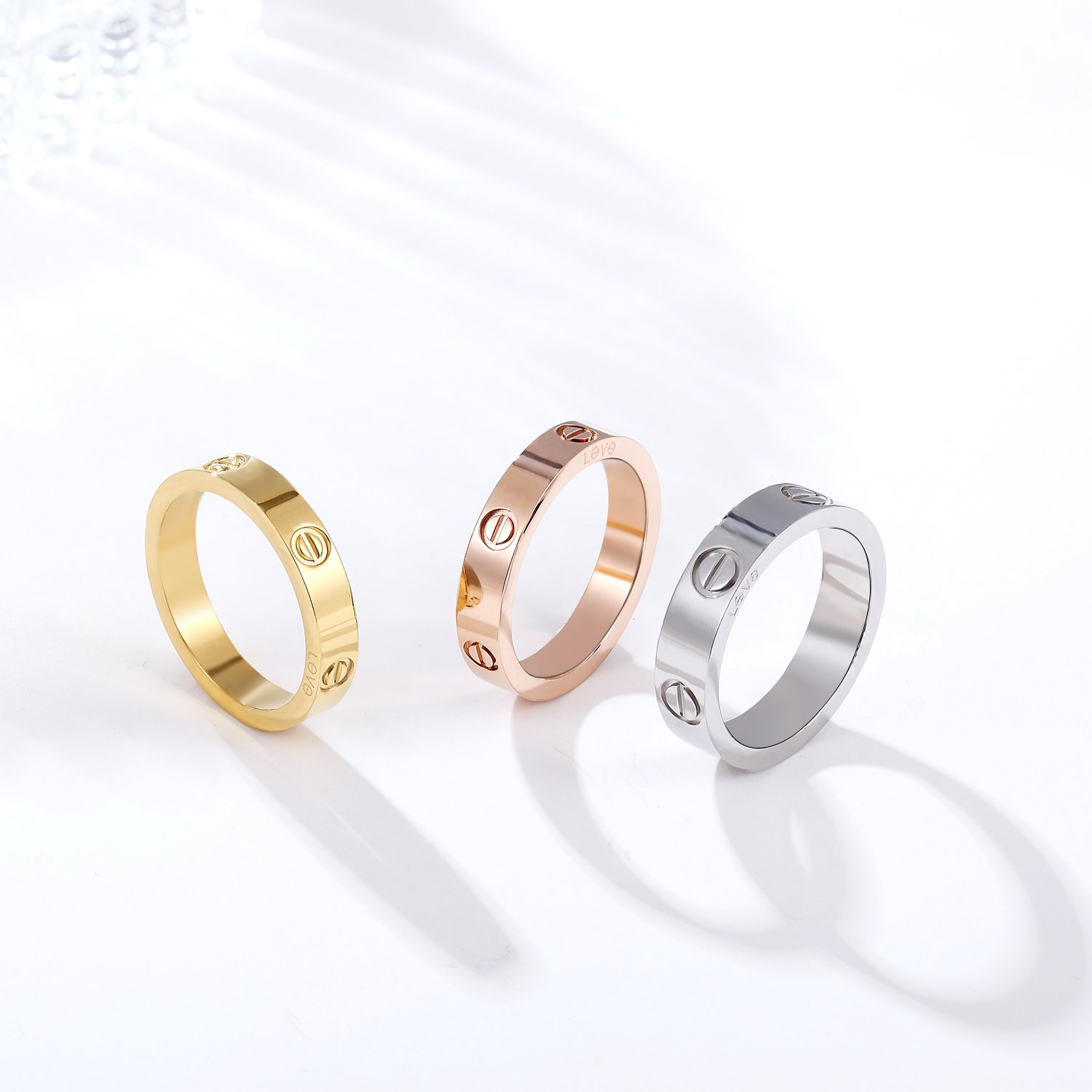 Z.RACLE 4mm Love Rings for women with Screw Design Best Gifts for love Sliver - 7 by Z.RACLE (Image #3)