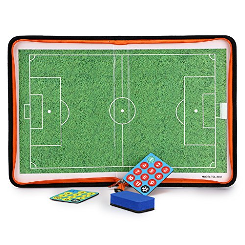 Hipiwe Football /Soccer Coach Board with Zipper - Perfect Leather Tactics Board for Coaches players