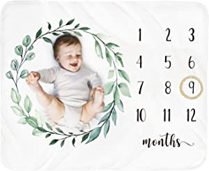 Baby Monthly Milestone Blanket Boy - Newborn Month Blanket Unisex Neutral Personalized Shower Gift Leaf Nursery Decor Photography Background Prop with Wooden Wreath Large 51''x40''