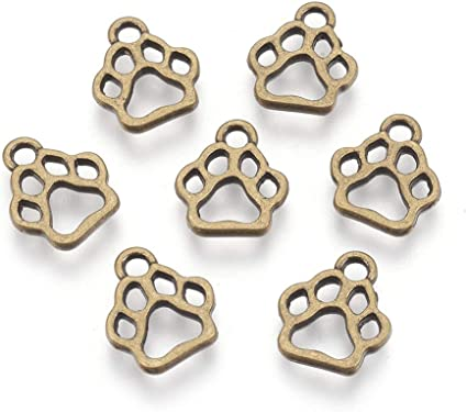 30Pcs Pet Dog Puppy Paw Print Metal Footprint Charm Necklace Bracelet Pendant