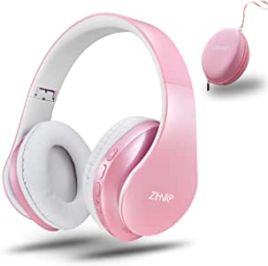 Bluetooth Headphones Wireless,Over Ear Headset with 20Hr Play Time , Foldable & Lightweight, Support Tf Card MP3 Mode and Fm Radio for Cellphones Laptop (Pink)