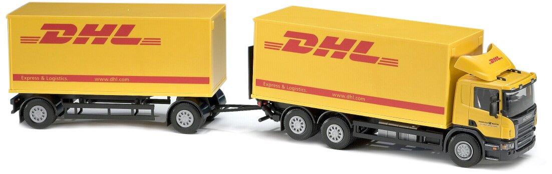 Emek Scania Lieferwagen und DHL-Anhänger