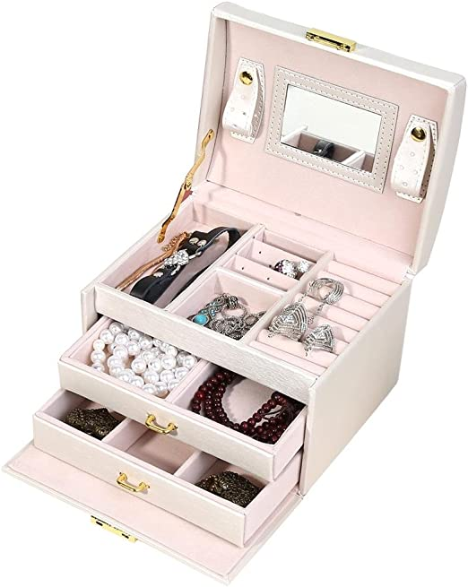 Large Rings Women Jewelry Storage Box 2 Layer Earrings Necklace Display Case