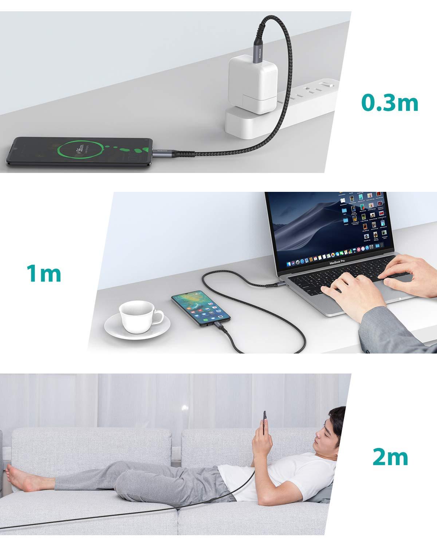Nimaso C/âble USB C /à USB C ,C/âble USB Type C Charge Rapide PD Nylon Tress/é en Fibre pour iPad Pro 2018,MacBook Pro,Surface Book 2,Galaxy S10//S10+,Huawei Matebook,Google Pixel etc Lot de 3:0.3M+1M+2M