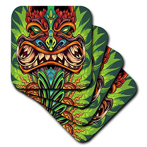 - 3dRose Flyland Designs - Tiki, Design, Illustration, dark - Tribal tiki head design brown - set of 4 Ceramic Tile Coasters (cst_295930_3)