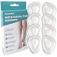 Temiart Ball of Foot Cushions Metatarsal Pads for Women Men Soft Gel Insoles Supports Forefoot Cushioning, Pain Relief…