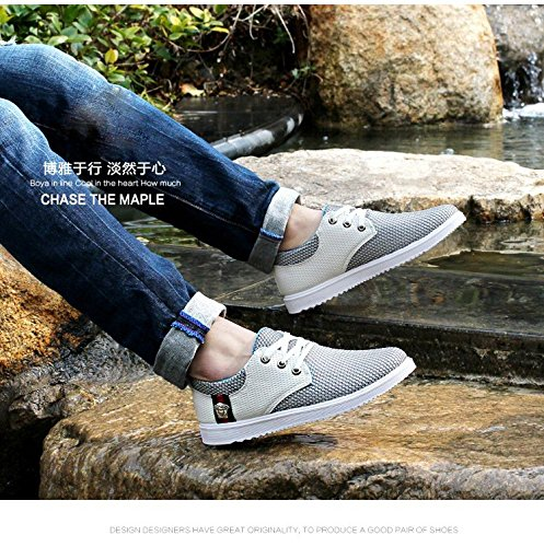Up Lace Mesh Boat Shoe Summer Formal Loafers Casual Blue Breathable Light Dress Men Gaorui Leather qRn5EE