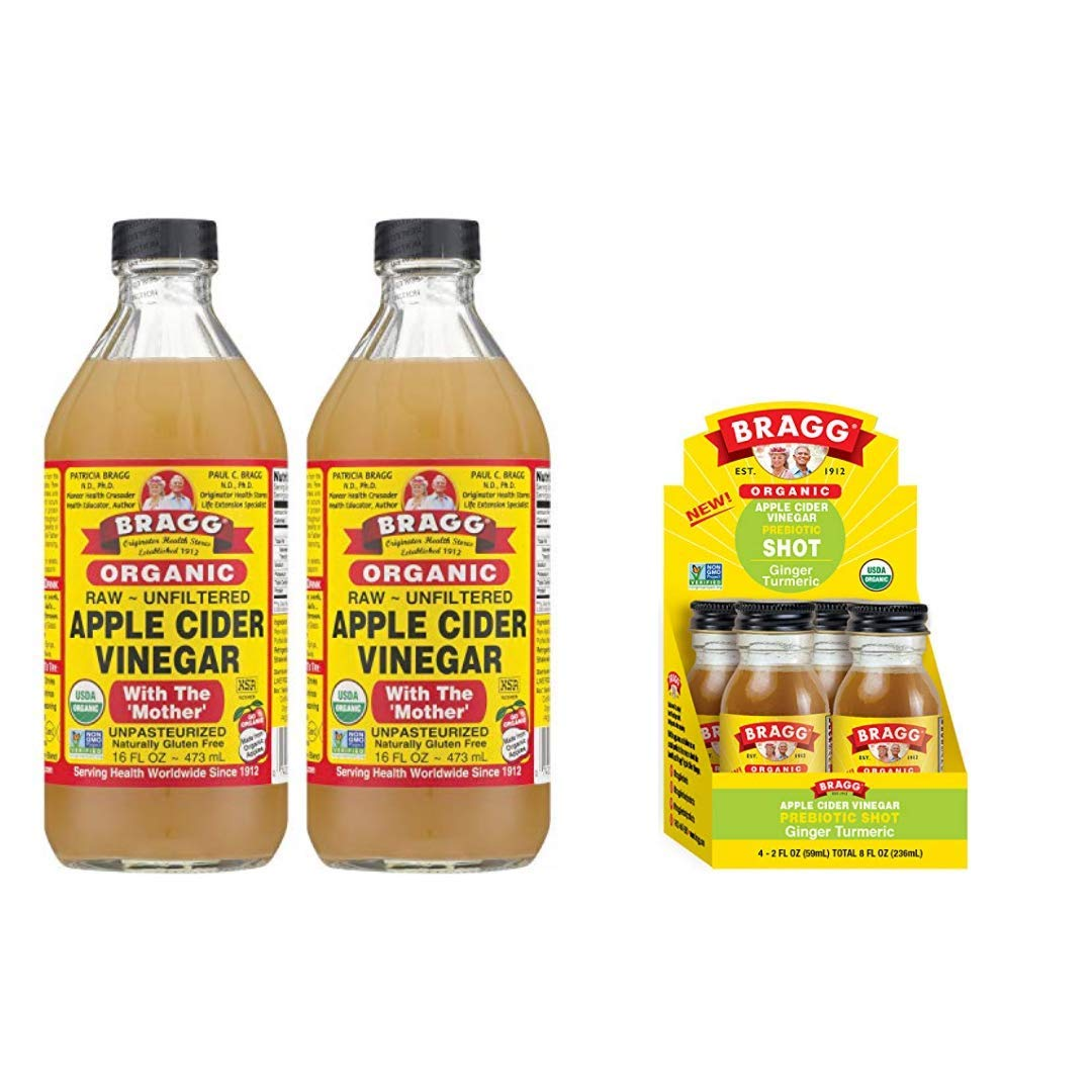 Bragg Organic Apple Cider Vinegar With the Mother 16 Ounce 2 Pack and Bragg Organic Apple Cider Vinegar Shot with Ginger Turmeric 2 Ounce ACV Shot 4 Pack Bundle
