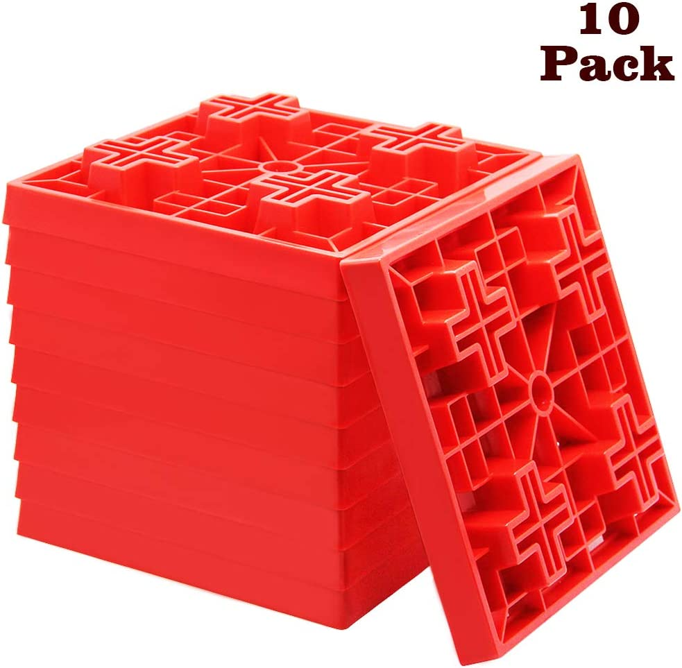 yosager 10 Pack Heavy Duty Leveling Blocks, Ideal for Leveling Single and Dual Wheels, Camper Levelers, Tongue Jacks, Hydraulic Jacks, Stabilizer Jacks, Red: Automotive