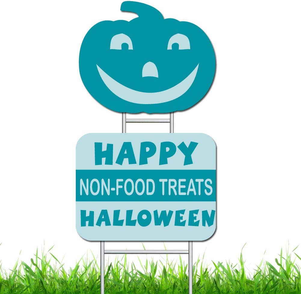 Teal Pumpkin Yard Signs for Halloween, Non-Food Treats & Smiling Pumpkin Yard Signs for Halloween Decorations Outdoor Lawn Decorations, Double Side Printing, Waterproof, Colorfast
