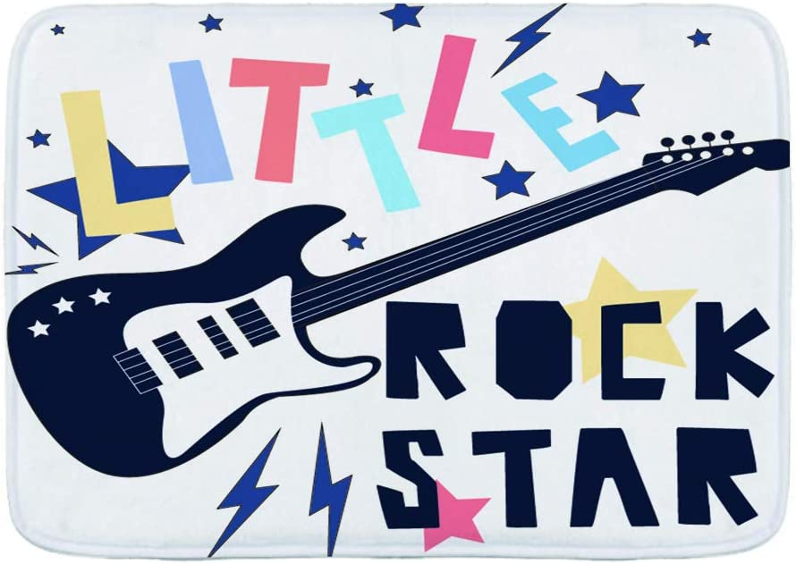 TOVIHUA Felpudo Alfombras de baño,Vector de Eslogan de Little Rock Star para diseño de impresión,Alfombra de Entrada Antideslizante Alfombras de Puerta de Bienvenida