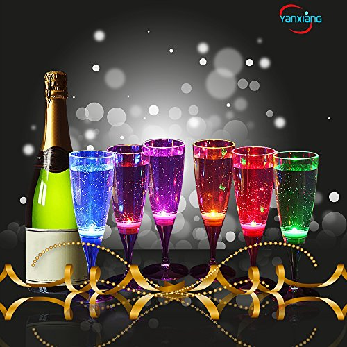 YANX 6 Pack Wine LED Glasses Champagne Flutes LED Glasses Flashing Cups LED Liquid Activated for Bar Night Club Party Drink Halloween Christmas Wedding Party Decoration