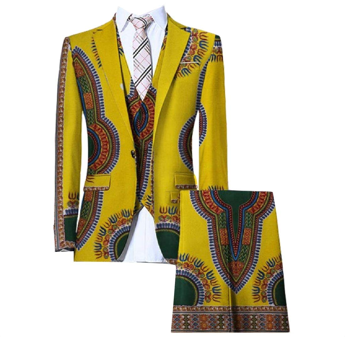 HUWAYI Men Africa Dashiki Set 3-Piece Vogue Blazer Pants Business Suit