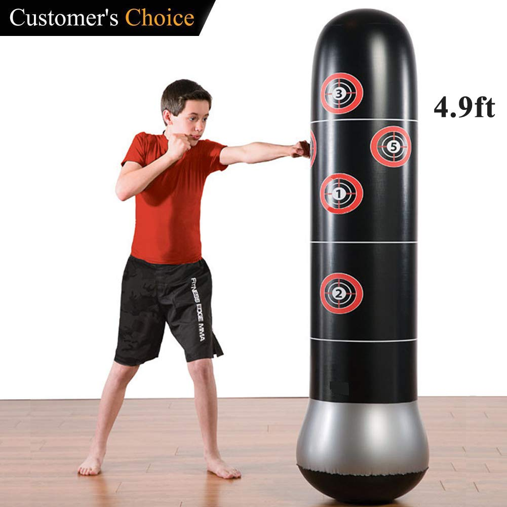 Eforoutdoor Inflatable Fitness Punching Bag Heavy Punching Bag Inflatable Punching Tower Bag Freestanding Children Fitness Play Adults De-Stress Boxing Target Bag,59'' Height,Black