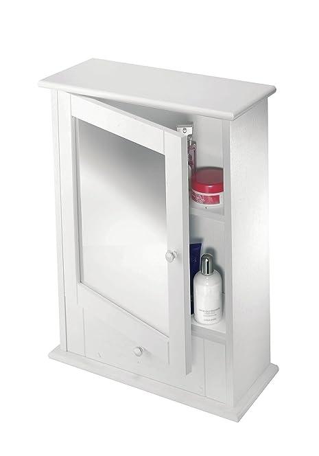 Croydex Maine Single Door White Mirror Cabinet with Shelf: Amazon ...